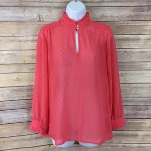 J. Crew Swiss Dot Coral High Neck Blouse Top